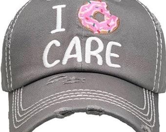 I doughnut care tattered baseball hat