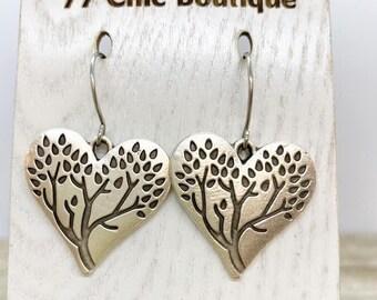 Matte silver tree of life earrings