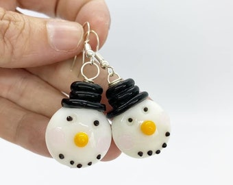 Wire wrapped glass snowman earrings