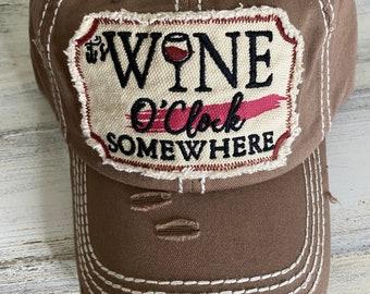 Its wine o'clock somewhere tattered baseball hat