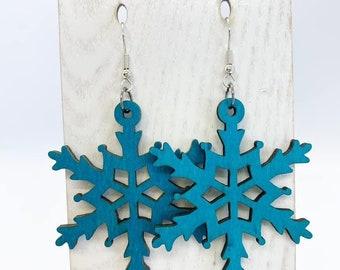 Large but lightweight Aspen wood snowflake earrings