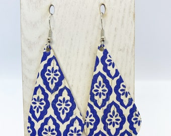 Moroccan print faux leather earrings