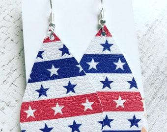 Genuine leather americana print teardrop earrings