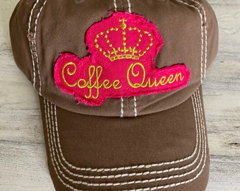 Coffee queen tattered baseball hat