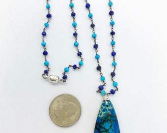 18 inch Rosary style chain with lapis and turquoise with sea sediment pendant and magnetic clasp