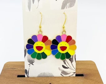 Happy flower charm earrings