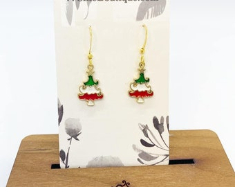Christmas tree charm earrings