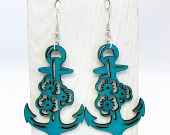 Aspen wood anchor earrings