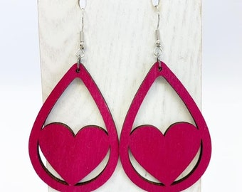 Hot pink Aspenwood heart teardrop earrings