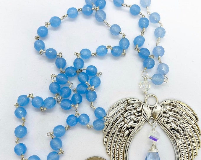 """Featured listing image: 30"""" rosary style necklace with angel wing pendant"""