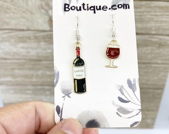 Asymmetrical wine earrings