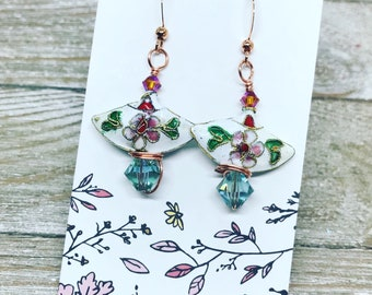 Cloisonné beads wire wrapped with Swarovski crystals on rose gold color ear wires