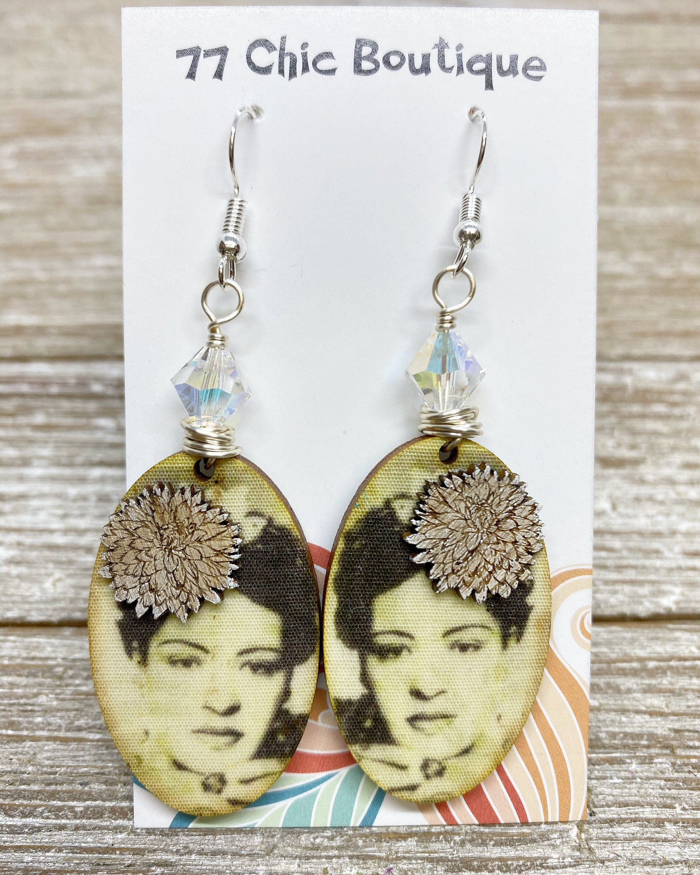 Super Lightweight Billie Holiday Earrings With Swarovski Crystal Accent