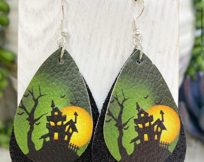 Featured listing image: Double layer glitter faux leather haunted house earrings