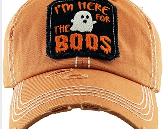 Featured listing image: I'm here for the boo's Tattered baseball hat