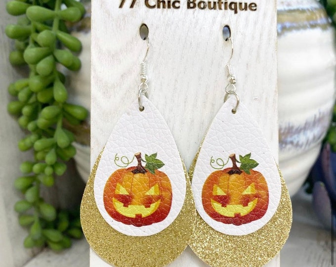 Featured listing image: Double layer glitter faux leather jack-o'-lantern Halloween earrings