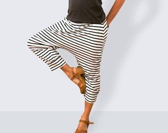 Striped pants, yoga pants women, capri pants, yoga pants plus size, baggy pants, yoga clothing, sarouel femme, women, drop crotch pants