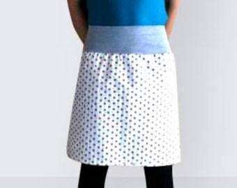 Knee length skirt  summer skirt, retro style, skirt with apples,  apples, knee length, colored