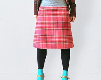 Red tartan  wool skirt  in retro style, tartan skirt, flared skirt,  scottish skirt, wool skirt, warm skirt, checkered skirtautumn, winter