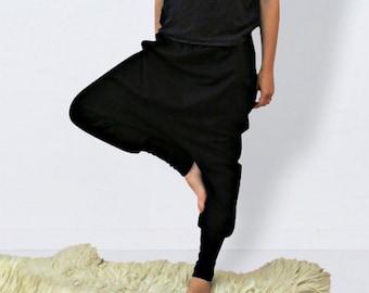 Black harem pants women, harem pants plus size, gift for women, vegan clothing ,harem pants women, sarouel, sweat pants, drop crotch pants