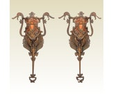 5 Vintage Bronze Dragon Head Sconces