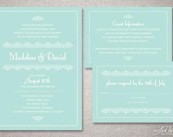 "Romantic Vintage ""Madeline"" Custom Wedding Invitations Suite in Mint - Classic Elegant Invite - DIY Digital Printable or Printed Invitation"