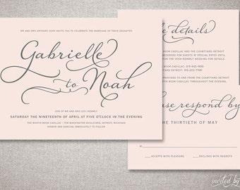 "Beautiful Script ""Gabrielle"" Wedding Invitations Suite - Romantic Handwritten Calligraphy - Custom Digital Printable or Printed Invitation"