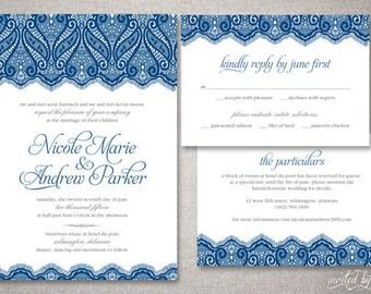 """Vintage Lace """"Nicole"""" Wedding Invitation Suite - Romantic Vintage Elegant Invite - Custom DIY Digital Printable or Printed Invitations"""