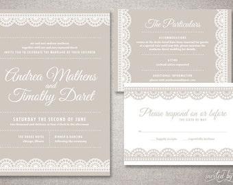 "Art Deco Lace ""Andrea"" Wedding Invitations Suite - Vintage Modern Invite - Custom DIY Digital Printable or Printed Invitation"