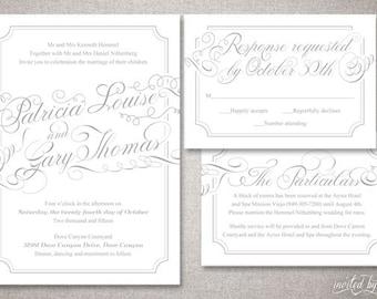 """Whimsy Calligraphy """"Patricia"""" Wedding Invitation Suite - Romantic Modern Classic Script Invitations - Digital Printable / Printed Invite"""
