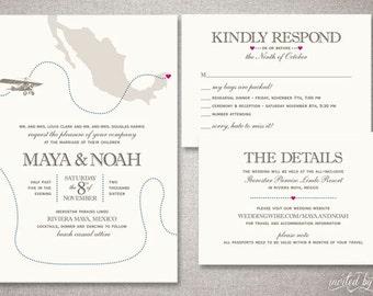 "Vintage Airplane ""Maya"" Wedding Invitation Suite - Destination Travel Mexico Invite - Custom DIY Digital Printable or Printed Invitations"