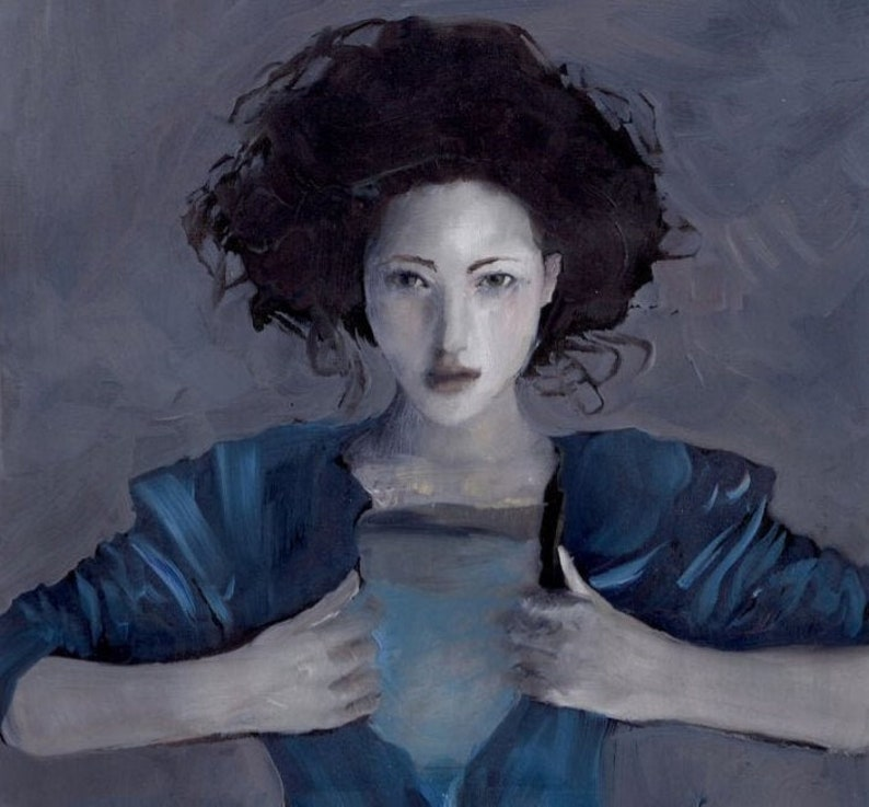 FRAMED Hurricane Woman PRINT large blue water themed artwork image 0