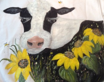 Painted Sweatshirt with Cow & Sunflower Design