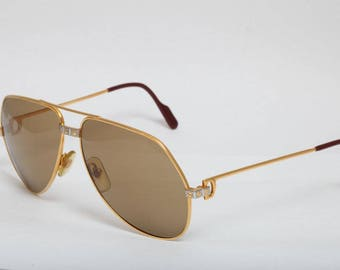 4f5c6a260c Cartier Vendome Santos Vintage Luxury Sunglasses Gold Plated Unisex FREE  SHIPPING!