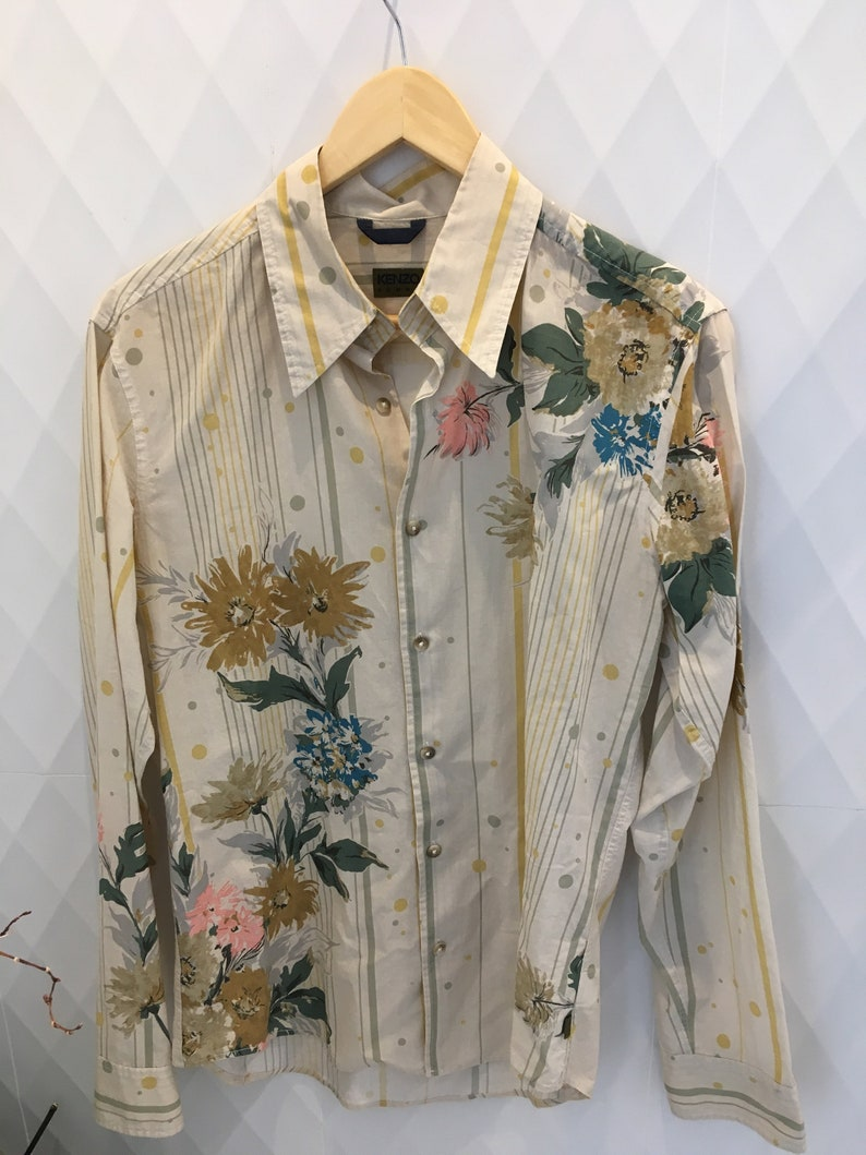 2bd856f4 KENZO Homme Vintage Floral Print Shirt   Etsy