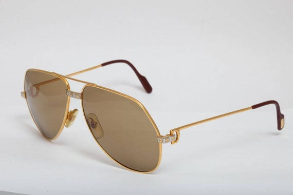 Cartier Santos de Vendome luxe Vintage lunettes de soleil or   Etsy 1005adfd3e7b