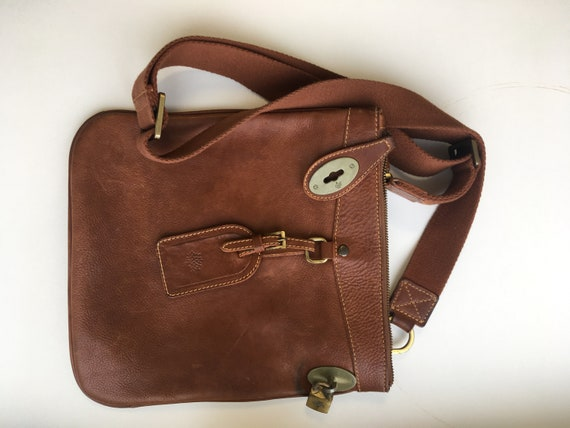 MULBERRY Vintage Leather Messenger Bag Unisex FREE