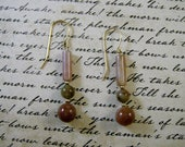 Fancy Jasper Indian Agate earrings with 14k Goldfill (free shipping)