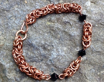 Black Crystal and Copper Bracelet, Byzantine Chain Mail Jewelry, Beaded Chainmaille, Fantasy, Celtic, Medieval, Renaissance,