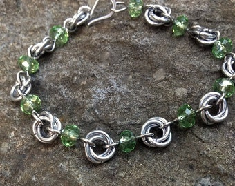 Delicate Crystal Chain Mail Bracelet, Summer Jewelry, Flower Chain, Celtic Knots, Aluminum, Steel, Spring, Chinese Crystal, Beaded Chain,