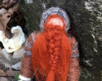 Gimli Felt Figure, Lord of the Rings Needle Felted Dwarf Miniature