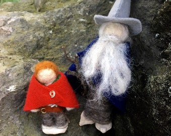 Gandalf and Bilbo Felt Figurines, Set of 2 Needle-Felted Miniatures, The Hobbit, Middle-Earth, Wizard, Gandalf the Grey, Bilbo Baggins