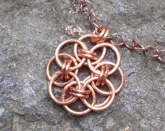 Tyrell Rose Pendant Necklace, Game of Thrones Jewelry, Chain Mail, Helm Chain, Fantasy, Celtic, Tudor Rose, Copper Pendant Necklace