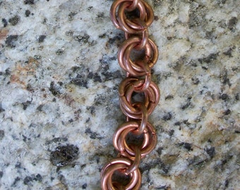 Delicate Copper Chain Mail Bracelet, Flower Chain, Celtic, Medieval, Norse, Fantasy, Chainmaille Bracelet