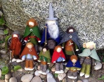 Lord of the Rings Fellowship of the Felt Figures: set of nine miniature felt dolls