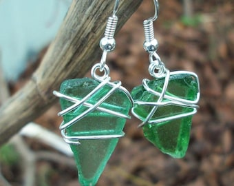 Real Sea Glass and Silver Earrings, Beach Glass, Wire Wrapped, Green, Brown, White, Easily Customized, Mismatched, Organic, Freeform