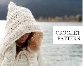 CROCHET PATTERN: Hood Hat with Ties