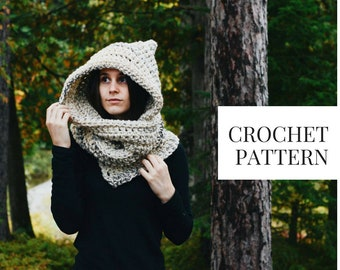 CROCHET PATTERN: Hooded Scarf Instant Download