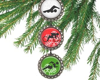 Triathlon ornament Christmas gift for triathlete run bike swim gift under 10.