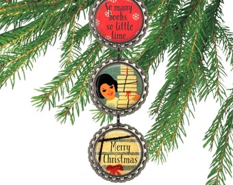 Book club gift teacher gift under 10 vintage Christmas ornament retro book ornament literary gift.